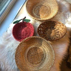 Set of 4 unique baskets boho basket wall apple